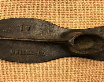 Antique Cast Iron Adult Shoe Form Mold Marked Malleable