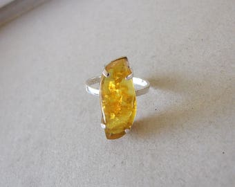 925 Sterling Silver Honey Amber Ring