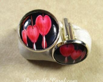 Bleeding Heart Cufflinks, Red Flower Cufflinks, Old Fashioned Flower Cufflinks, Bleeding Heart Mens Gifts, Red Flower Gifts for Him