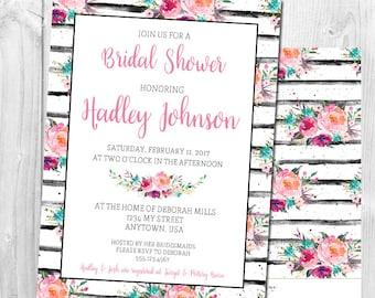 Watercolor Floral Stripe Shower Invitation