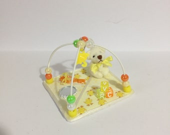 DOLLS HOUSE 1/12th scale cute yellow ducklings square Play Gym,  hand crafted miniature