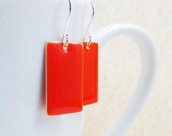 20% off sale Dangle Drop Earrings - Scarlet Red-Orange Epoxy Enamel Rectangles - Sterling Silver Plated over Brass (F-7)