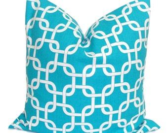 HGTV FEATURED PILLOW Sale.18x18 inch Turquoise Blue Decorative Pillow Cover.Housewares.Home Decor.Blue.Turquoise Pillow.Cushion.Chainlink.Cm