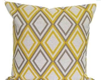 BROWN YELLOW PILLOW Sale.18x18 inch Decorative Pillow Cover.Housewares.Home Decor.Diamonds,Geometric. Pillow.Cushion Cover.Pillow.Cm.Pillow