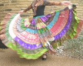 CUSTOM ORDER gypsy skirt. Tiered patchwork eco upcycled sari 20 yard swirl skirt.