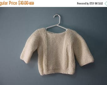 ON SALE Vintage creamy beige chunky handknit sweater / Cozy tunic style sweater / pullover / jumper girl toddler 12 to 24 months/ 2T