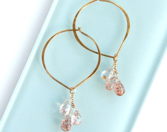 Sunstone Earrings, Gold Hoop, Lotus, Peach, Orange Statement Earrings