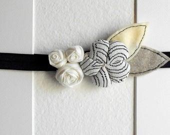 Black and white flower headband elastic - nordic design