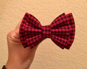 Red buffalo plaid hair bow