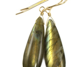 AAA Labradorite Smooth Long Teardrop Large 14k Gold Filled yellow gold or Sterling Silver Earrings Gold Green Blue Flash Colors simple