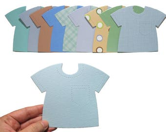 20 Blue Green Shirt Die Cuts - Baby Boy Card-Making Supplies - Blue Paper T-Shirts - Die-cuts for Papercrafting & Scrapbooking - Boys Mix