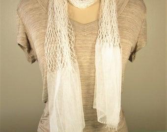 White Fish Net Scarf - Vintage Long Neck Belt