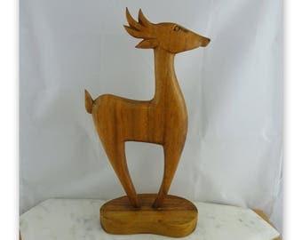 Vintage Hand Carved Mid Century Wooden Deer Statue / Figure , Retro Home Decor