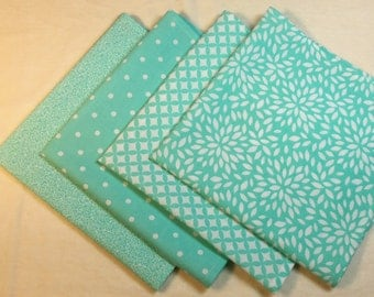 Cloth Napkins - Set of 4 - Light Turquoise and White Patterns