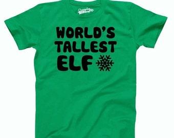 Mens Worlds Tallest Elf T-Shirt christmas, spirt, holiday, gift, for him, funny, tshirt, stocking stuffer, green, guys, b