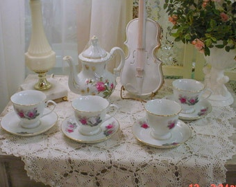 Vintage Floral Teaset 10pc Roses China Shabby Chic French Country Cottage