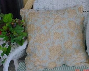 French Toile Pillowshams Aqua Pair Romantic Cottage Chic