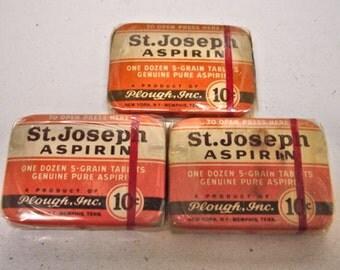 Vintage Lot of 3 St. Joseph Aspirin Tins Full Sealed 10 Cents Size New old Stock Drug Store Tins