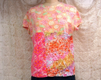XL T-Shirt Cotton Rayon Recycled Boho Repurposed Hippie Altered Clothing Eco Wear