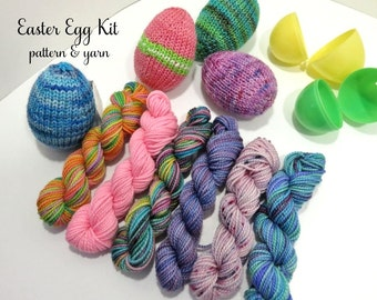 Easter Egg Knit Kit - 6 sock yarn mini skeins and Easter Egg pattern