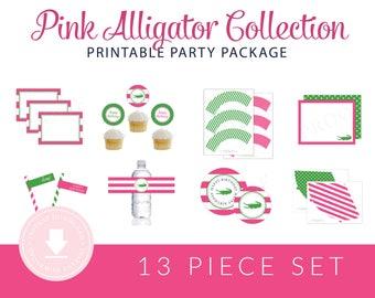 INSTANT DOWNLOAD Alligator Printable Shower Package (Alligator Baby Shower, Preppy Alligator Shower, Alligator Shower Decorations, Pink)
