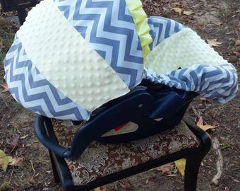 Grey Chevron yellow minky universal baby car seat cover infant seat cover slip cover Graco fit evenflo baby trend Chico