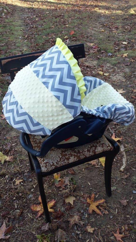 Grey Chevron Yellow Minky Universal Baby Car Seat Cover Infant