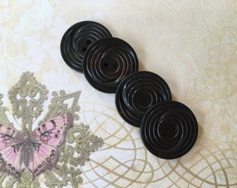 4 Handsome Vintage 1940's Black Buttons of Celluloid
