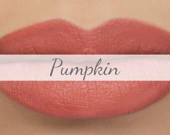 "Vegan Matte Lipstick Sample - ""Pumpkin"" (light salmon orange natural lipstick with opaque coverage)"