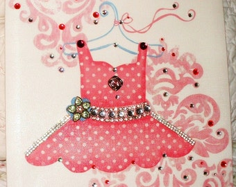 Pretty PINK PRINCESS Dress Stretched Canvas Wall Hanging~Little Girl's Room~Wall Decor for Princess Room~Pink Jewelry~Princess