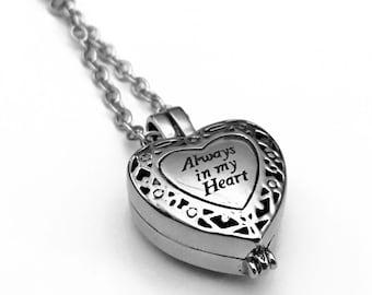 Always in My Heart Urn, Heart Urn, Urn Locket, Ashes Holder Necklace, Cremation Locket, Memory Locket, Cremation Jewelry, Heart Locket