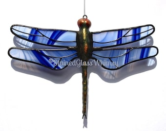 Stained Glass DRAGONFLY Suncatcher - Cobalt Blue & White on Clear - USA HandMade, Blue White Dragonfly, Blue Firefly, Dragonfly Ornament
