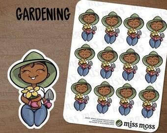 Brown Skin Gardening Gardener Plus Size Curvy Planner Stickers, African American Black - Erin Condren, Happy Planner, Filofax, Decorative