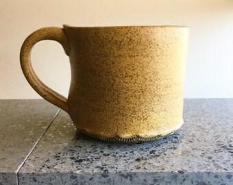 Speckled Yellow Coffee Mug, Tea Coffee Cup Clay Ceramic Ochre Rustic Gold