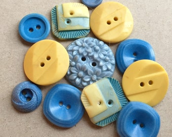 sky blue and creamy yellow mid century vintage eco friendly buttons--mixed lot of 11