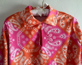 Psychedelic Neon Pink Orange Paisley Print Shirt Hippies Dream