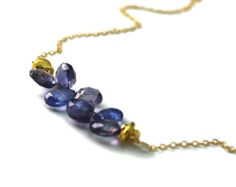 Tanzanite and Iolite Necklace. Horizontal Bar Necklace. Gemstone Teardrop Necklace. Gold Fill or Sterling Silver. NS-1919-4