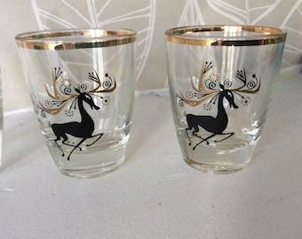 Vintage reindeer shot glasses