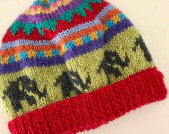 Red Elephant  beanie -  Hand knitted - to fit approx 6-12 months old