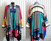 Revamp Sale Upcycled Bohemian Kimono Cardigan Colorful Striped with Side Pockets Funky Recycled Clothing Size 3x