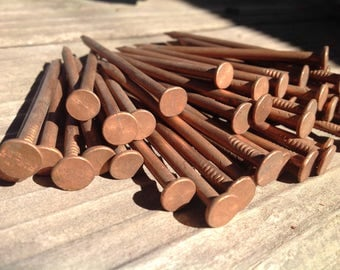 50 Chase Vintage Copper Nails, Lot of Fifty, Centaur Logo, Solid Copper Nail, 2.5 Inches, Antique Nails, Smooth Shank