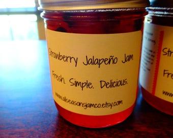 Jalapeno Jam Sampler Pack   Strawberry Jalapeno Jam, Peach Jalapeno Jam   8oz mason jar