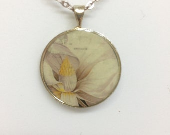 Flower Postage Stamp Necklace