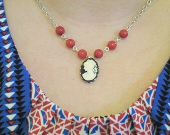 Black & Cream Cameo Necklace, Red Coral Beads, Silver plated, Romantic Vintage Inspired Jewelry, Victorian, Cherry Red, Statement Necklace