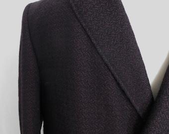 Vintage 80s mens overcoat, mens coat, winter wool coat, black brown tweed, size 48 XL