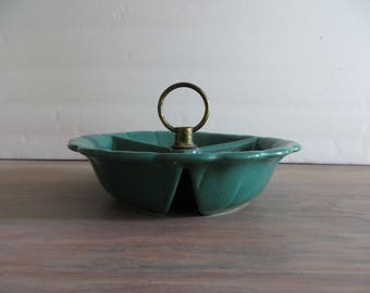 Vintage USA pottery no. 370, green divided dish, retro home decor, snack candy relish dish