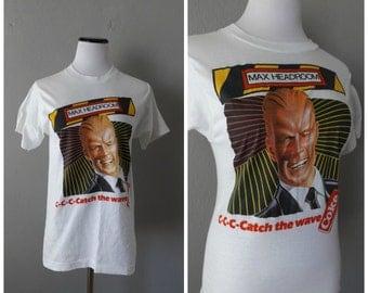 Max Headroom 80s T-shirt | Vintage Coke Cola Thin Soft Screen Stars Tee Size M/Medium Retro 1980s Hipster Retro Tshirts Hippie Boho Shirts