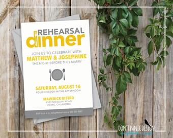 Printable Rehearsal Dinner Invitation - Modern Silverware Rehearsal Invitation - Printable Grey Yellow Dinner Invitation - Custom Color