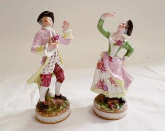 Vintage Porcelain Figurine Scene galante signed crossed swords Meissen style v824