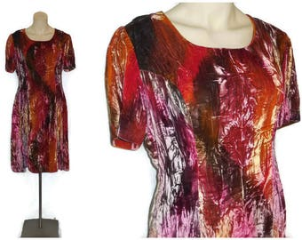 Vintage 1960s Dress Amazing Multicolor Velvet Fabric Tie Dye Effect Psychedelic Unique Boho Dress Mod Rock Woodstock Must See! M L
